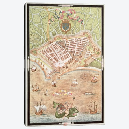 Fascimile of a Plan of Le Havre in 1583, from 'Les Premiers Oeuvres de Jacques Devaulx Pillote en la Marine'  Canvas Print #BMN2268} by Jacques Devaulx Canvas Art