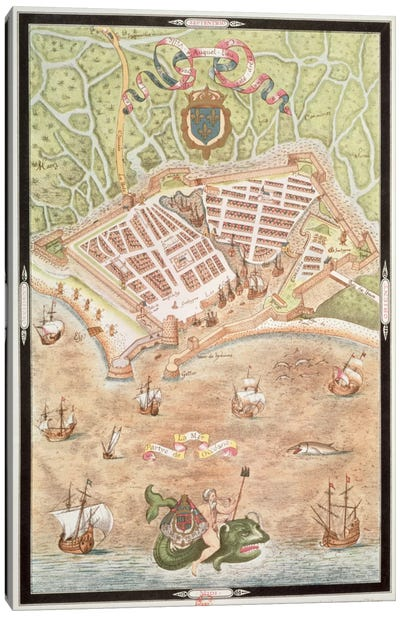 Fascimile of a Plan of Le Havre in 1583, from 'Les Premiers Oeuvres de Jacques Devaulx Pillote en la Marine' Canvas Art Print
