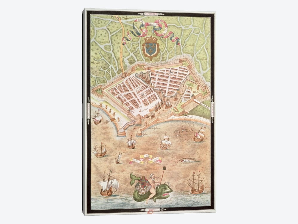 Fascimile of a Plan of Le Havre in 1583, from 'Les Premiers Oeuvres de Jacques Devaulx Pillote en la Marine'  by Jacques Devaulx 1-piece Canvas Artwork