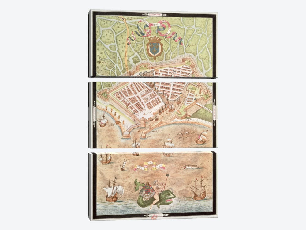 Fascimile of a Plan of Le Havre in 1583, from 'Les Premiers Oeuvres de Jacques Devaulx Pillote en la Marine' 3-piece Canvas Art