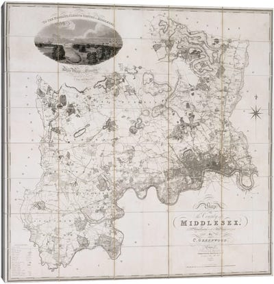 Map of the County of Middlesex, published 1819 Canvas Art Print