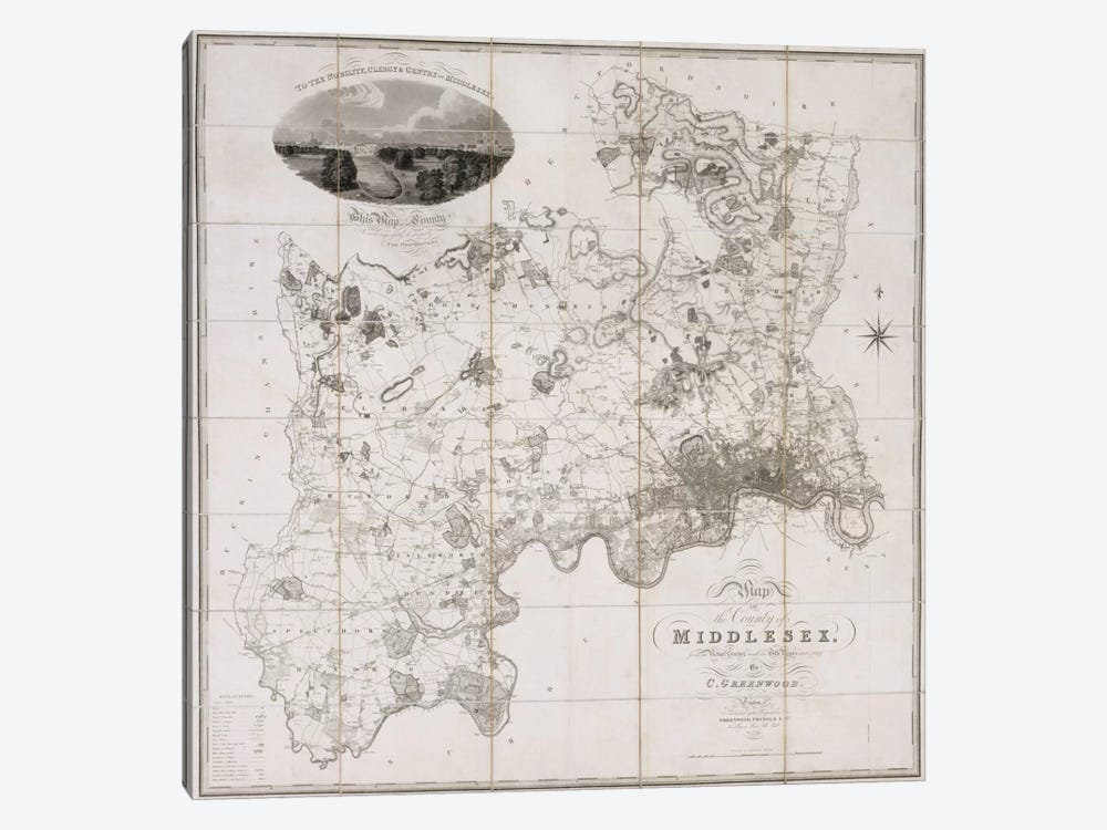 Map of the County of Middlesex, published 1819  by C. Greenwood 1-piece Canvas Art Print