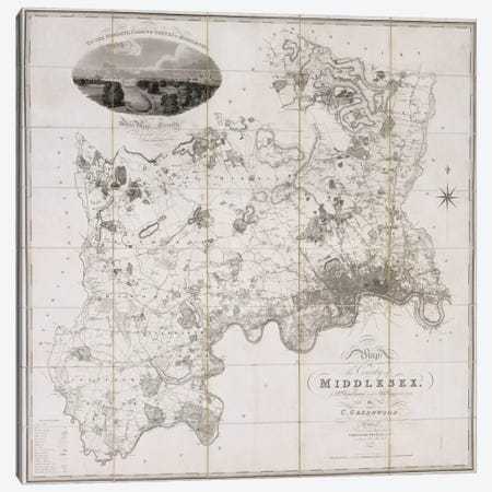 Map of the County of Middlesex, published 1819  Canvas Print #BMN2269} by C. Greenwood Canvas Wall Art