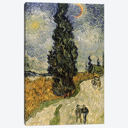 Road with Cypresses, 1890  Canvas Print #BMN226} by Vincent van Gogh Canvas Art Print