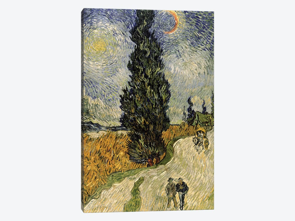 Road with Cypresses, 1890  by Vincent van Gogh 1-piece Canvas Art