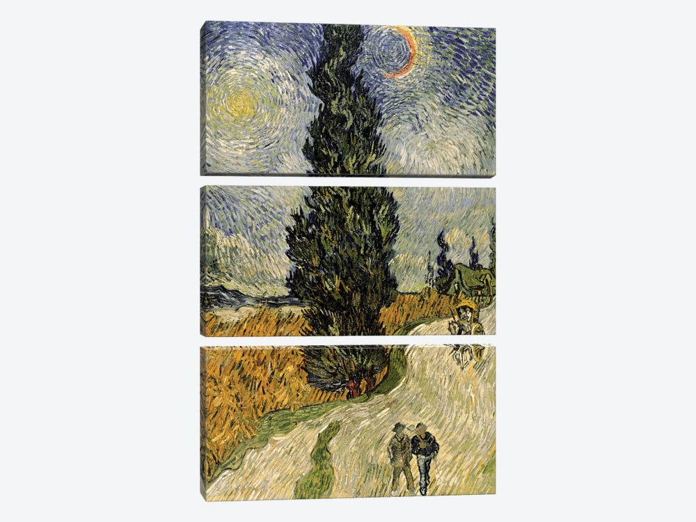 Road with Cypresses, 1890  by Vincent van Gogh 3-piece Canvas Artwork