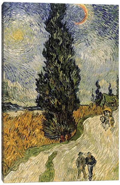 Road with Cypresses, 1890  Canvas Art Print
