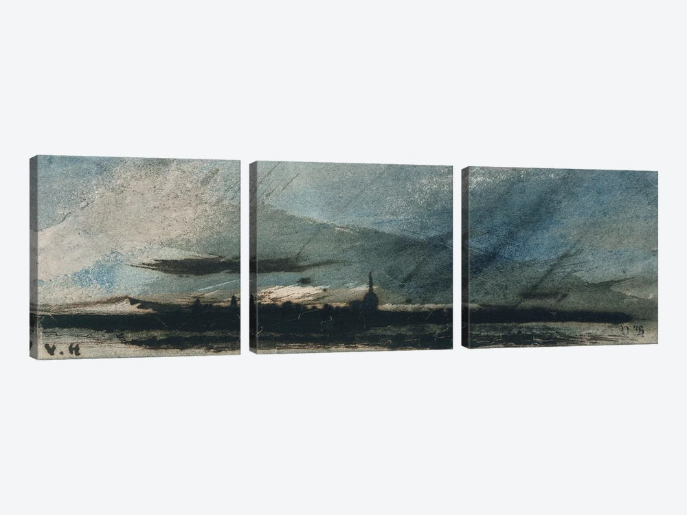Town at Dusk  by Victor Hugo 3-piece Canvas Artwork