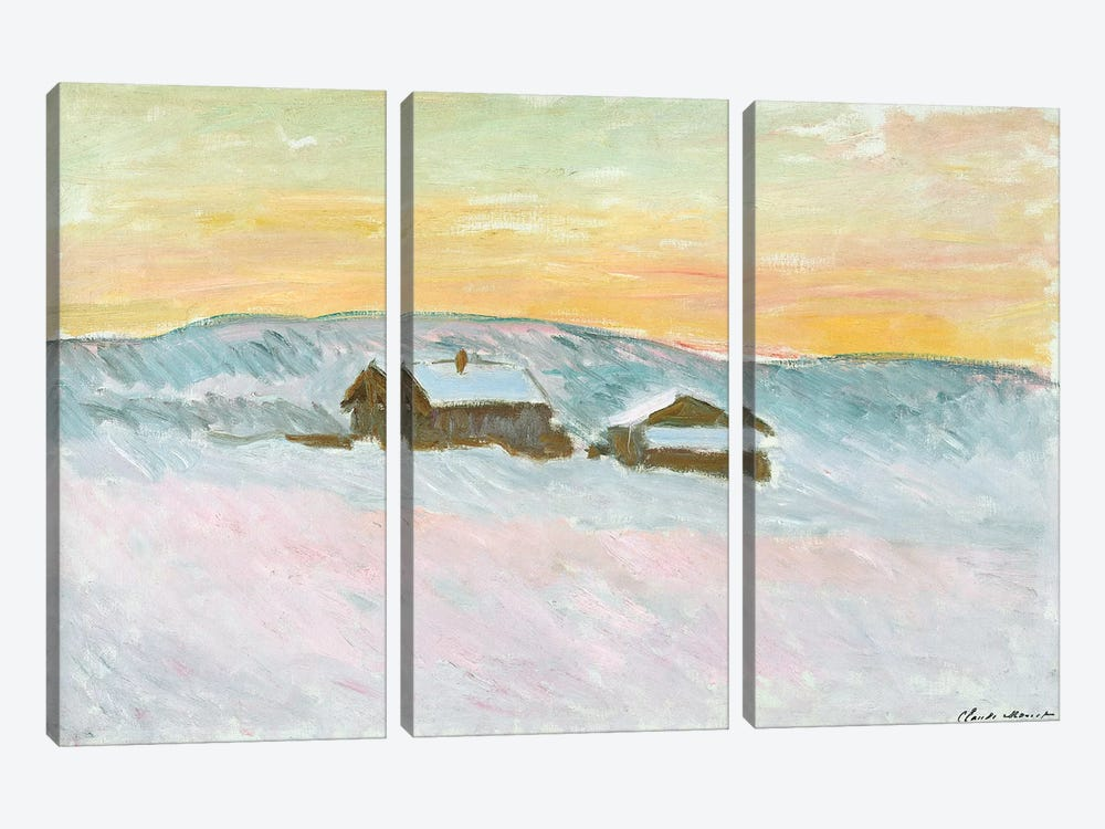 Norwegian Landscape, Blue Houses, 1895  by Claude Monet 3-piece Canvas Wall Art