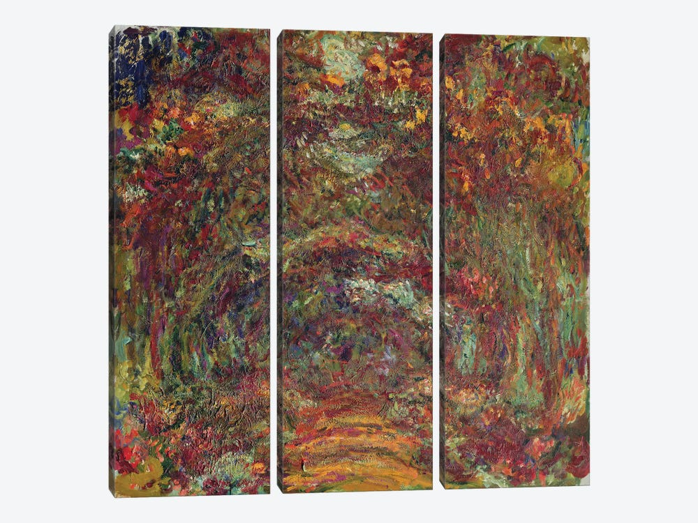 The Rose Path, Giverny, 1920-22  by Claude Monet 3-piece Canvas Art Print