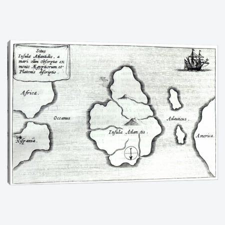 Map of Atlantis, from 'Mundus Subterraneus', 1665-68  Canvas Print #BMN2279} by Athanasius Kircher Canvas Art Print