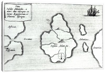 Map of Atlantis, from 'Mundus Subterraneus', 1665-68  Canvas Art Print
