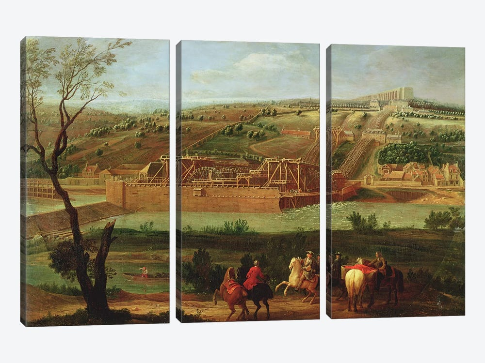View of the Marly Machine and the Aqueduct at Louveciennes, 1722  by Pierre-Denis Martin 3-piece Canvas Wall Art