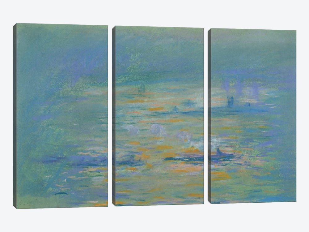 Tugboats on the River Thames  by Claude Monet 3-piece Canvas Art Print