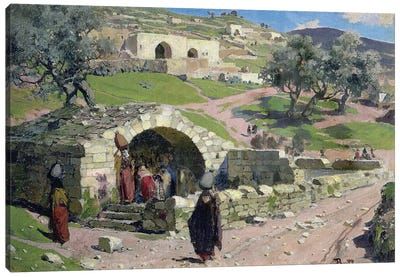 The Virgin Spring in Nazareth, 1882  Canvas Art Print