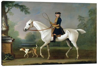 Sir Roger Burgoyne Riding 'Badger', 1740  Canvas Art Print