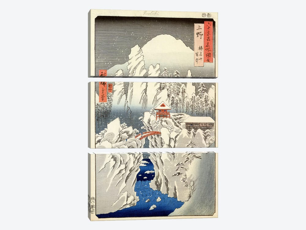 Kozuke, Harunasan setchu (Kozuke Province: Mount Haruna Under Snow) by Utagawa Hiroshige 3-piece Canvas Artwork