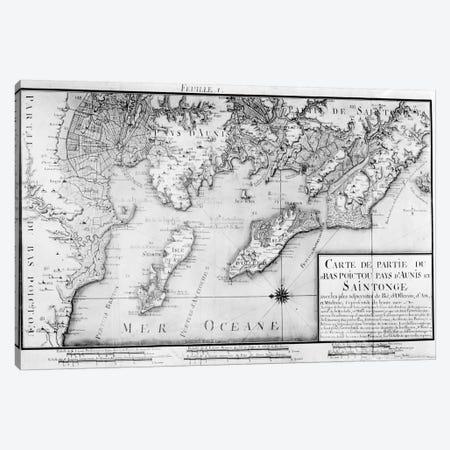 Atlas 131 H f.1 Map of Bas Poitou, Pays d'Aunis and Saintonge, from 'Recueil des Plans du Bas Poitou et de l'Aunis'  Canvas Print #BMN2295} by Claude Masse Canvas Artwork