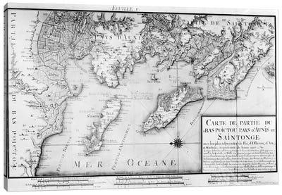 Atlas 131 H f.1 Map of Bas Poitou, Pays d'Aunis and Saintonge, from 'Recueil des Plans du Bas Poitou et de l'Aunis'  Canvas Art Print