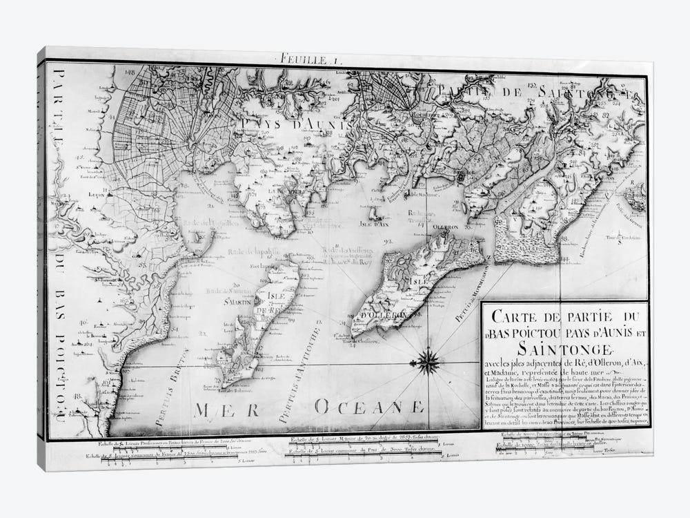 Atlas 131 H f.1 Map of Bas Poitou, Pays d'Aunis and Saintonge, from 'Recueil des Plans du Bas Poitou et de l'Aunis'  by Claude Masse 1-piece Canvas Wall Art
