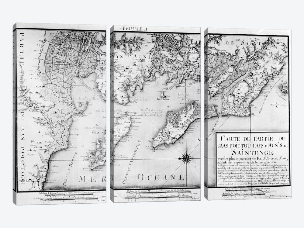 Atlas 131 H f.1 Map of Bas Poitou, Pays d'Aunis and Saintonge, from 'Recueil des Plans du Bas Poitou et de l'Aunis'  by Claude Masse 3-piece Canvas Art