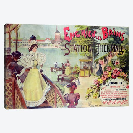Poster advertising the spa resort of Enghien-les-Bains, France, late 19th century  Canvas Print #BMN2296} by French School Canvas Artwork