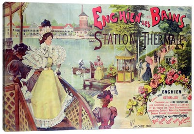 Poster advertising the spa resort of Enghien-les-Bains, France, late 19th century  Canvas Art Print