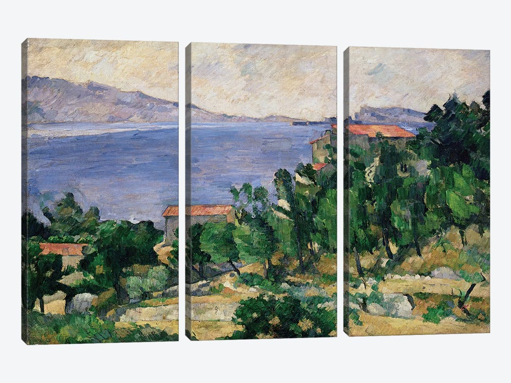 View of Mount Marseilleveyre and the Isle of Maire, c.1882-85  by Paul Cezanne 3-piece Canvas Wall Art