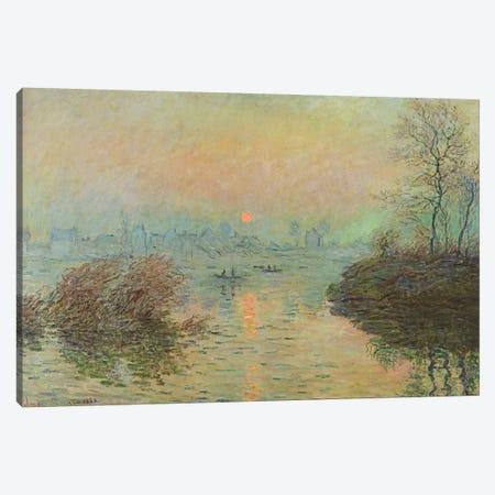 Sun Setting over the Seine at Lavacourt. Winter Effect, 1880  Canvas Print #BMN2298} by Claude Monet Art Print