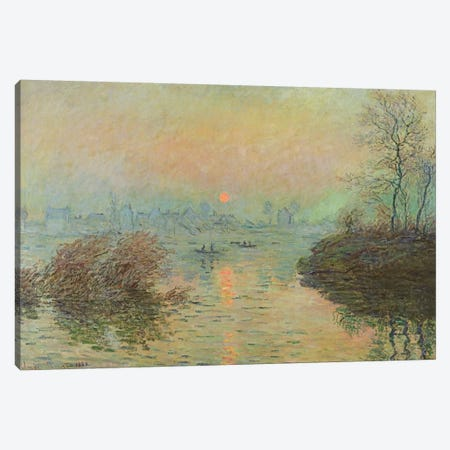 Sun Setting over the Seine at Lavacourt. Winter Effect, 1880  Canvas Print #BMN2298} by Claude Monet Art Print