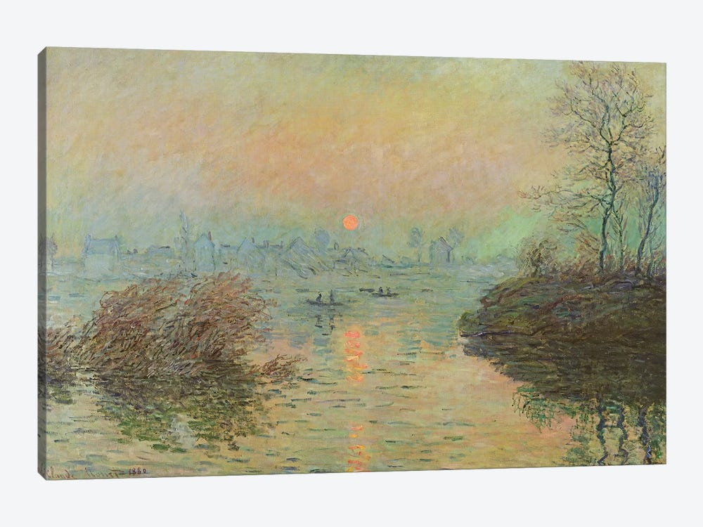 Sun Setting over the Seine at Lavacourt. Winter Effect, 1880  by Claude Monet 1-piece Canvas Art Print
