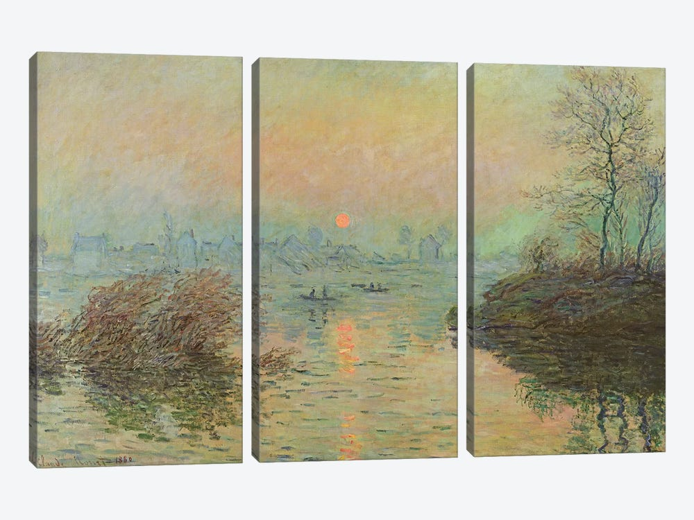Sun Setting over the Seine at Lavacourt. Winter Effect, 1880 by Claude Monet 3-piece Art Print