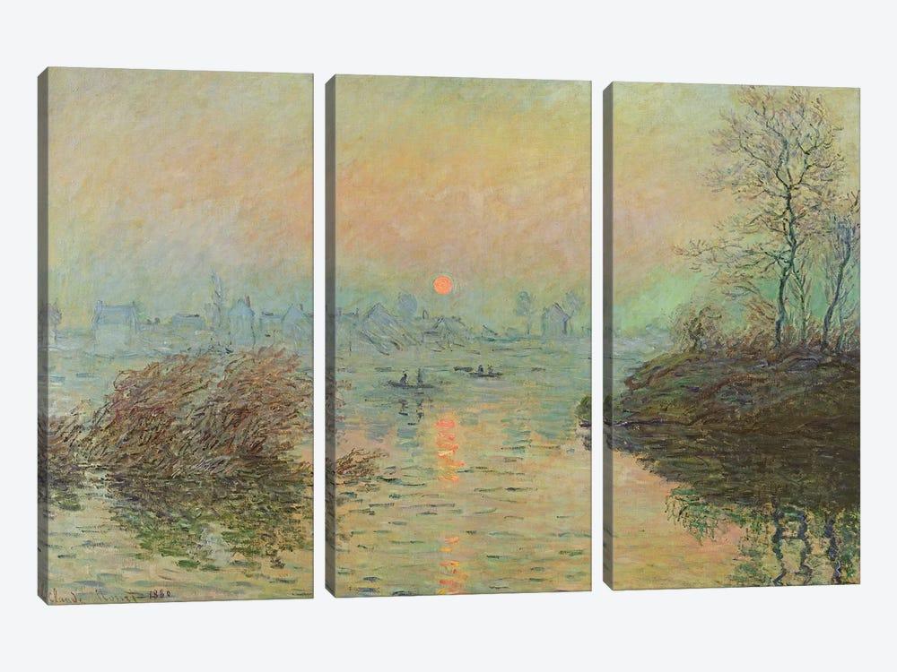 Sun Setting over the Seine at Lavacourt. Winter Effect, 1880  by Claude Monet 3-piece Art Print