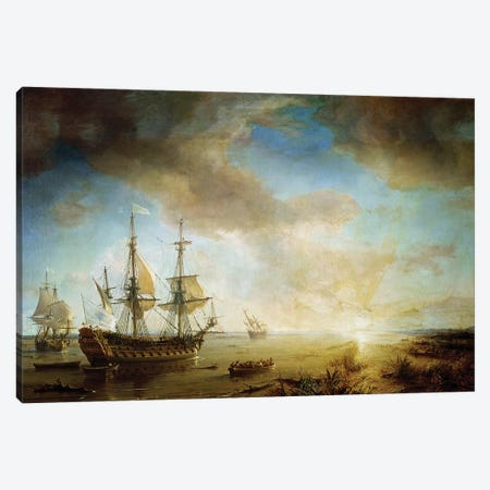 Expedition of Robert Cavelier de La Salle  Canvas Print #BMN2299} by Jean Antoine Theodore Gudin Art Print