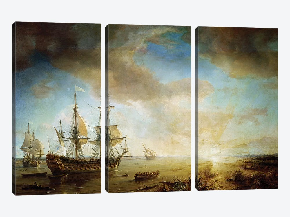 Expedition of Robert Cavelier de La Salle  by Jean Antoine Theodore Gudin 3-piece Canvas Wall Art