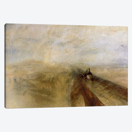 Rain Steam and Speed, The Great Western Railway, painted before 1844  Canvas Print #BMN229} by J.M.W. Turner Canvas Artwork