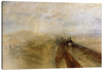 Rain Steam and Speed, The Great Western Railway, painted before 1844 Canvas Art Print