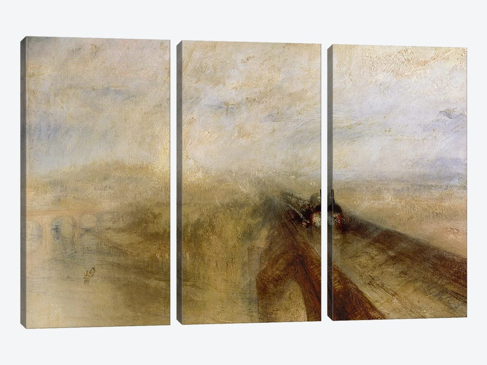 Rain Steam and Speed, The Great Western Railway, painted before 1844  by J.M.W. Turner 3-piece Canvas Print