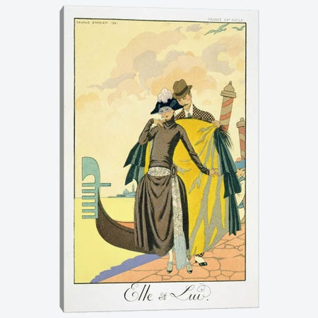 Elle et Lui, 1921 (pochoir print) Canvas Print #BMN22} by George Barbier Canvas Wall Art