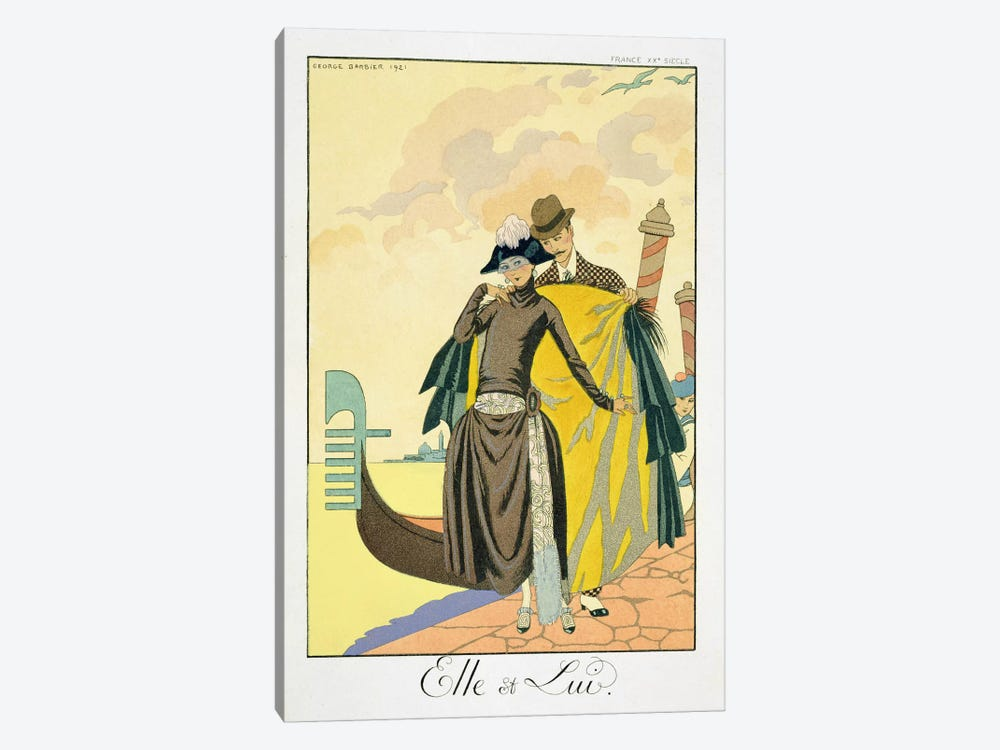 Elle et Lui, 1921 (pochoir print) by Georges Barbier 1-piece Canvas Artwork