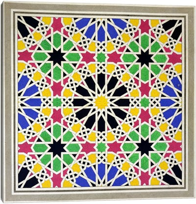 Mosaic ornament in the south side of the Court of the Lions, Alhambra, from 'The Arabian Antiquities of Spain', published 1815  Canvas Art Print
