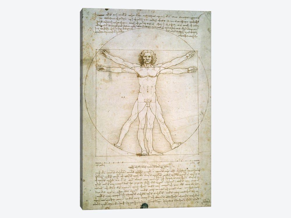 The Proportions of the human figure  by Leonardo da Vinci 1-piece Canvas Art Print