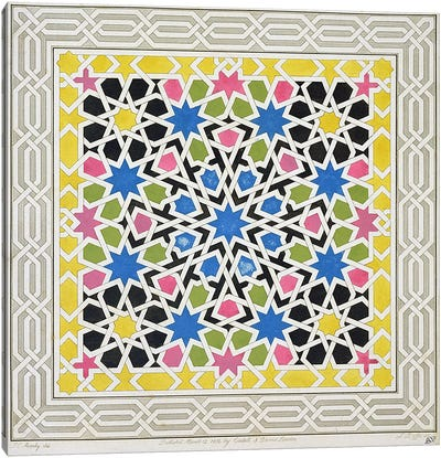 Mosaic design from the Alhambra, from 'The Arabian Antiquities of Spain', published 1815  Canvas Art Print