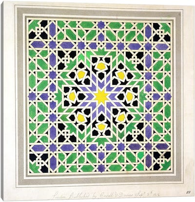 Mosaic design from the Alhambra, from 'The Arabian Antiquities of Spain', published 1812  Canvas Art Print