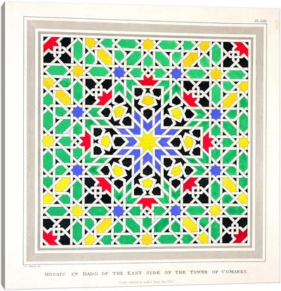 Mosaic in the dado of the east side of the Tower of Comares, Alhambra, from 'The Arabian Antiquities of Spain', published 1815  Canvas Art Print