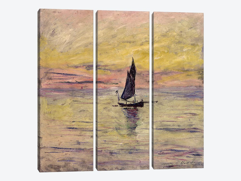 The Sailing Boat, Evening Effect, 1885  by Claude Monet 3-piece Canvas Print