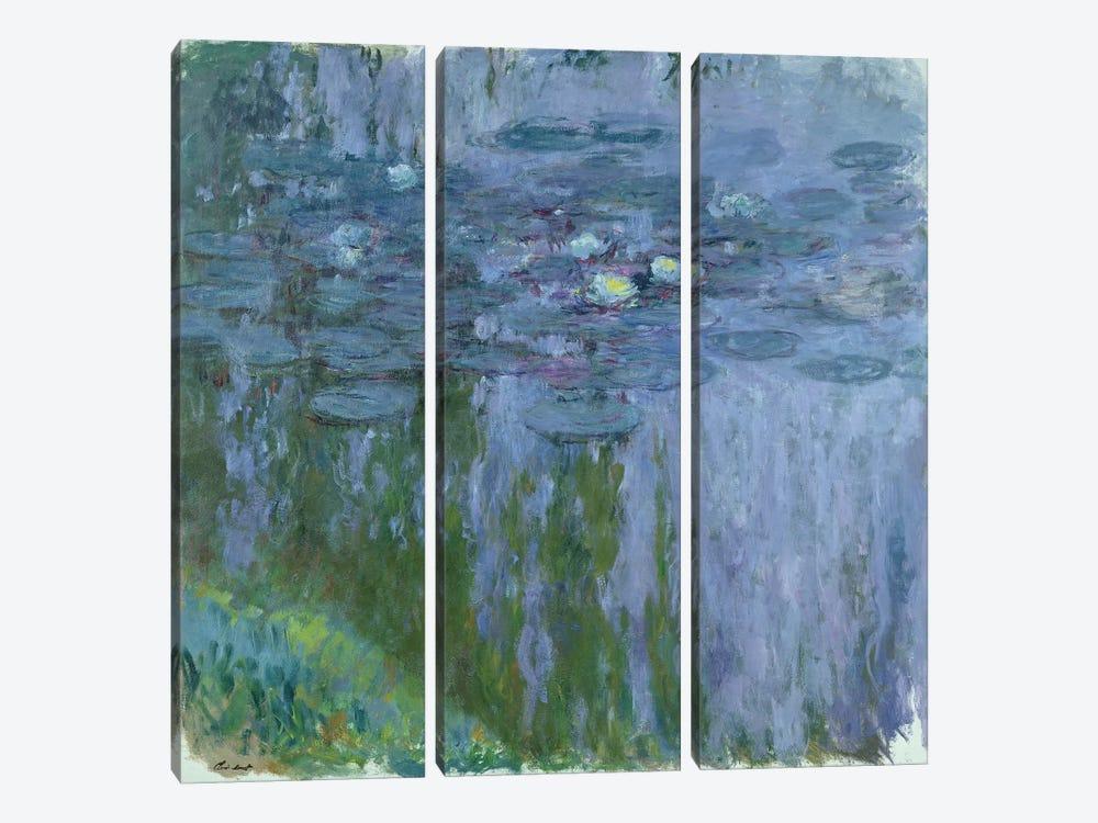 Waterlilies, 1916-19  by Claude Monet 3-piece Canvas Artwork