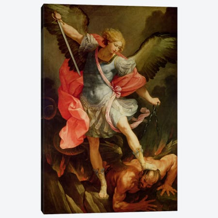 The Archangel Michael defeating Satan  Canvas Print #BMN2328} by Guido Reni Art Print
