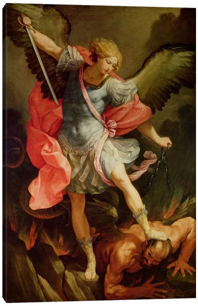 The Archangel Michael defeating Satan  Canvas Print #BMN2328