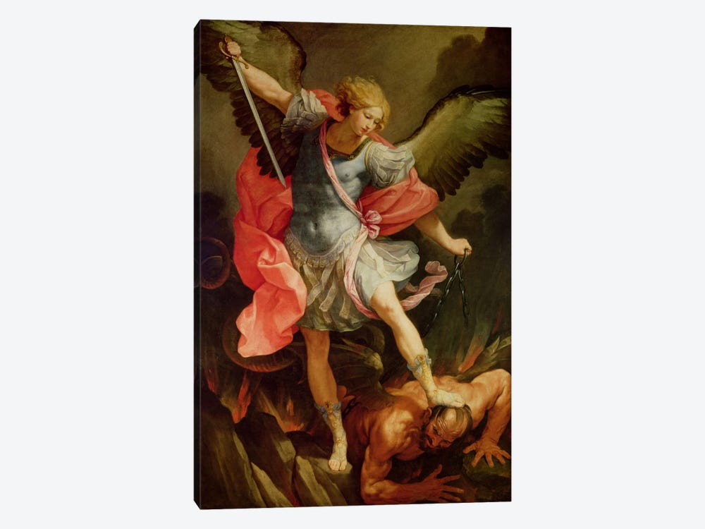 The Archangel Michael defeating Satan  by Guido Reni 1-piece Art Print